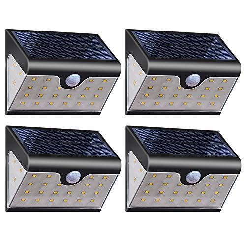 Lámparas Solares【Versión Avanzada 4 Piezas】28 LED Luces Solares Exterior 270° 2000mAh Luz Solar con Sensor de Movimiento 180° Foco Solar Para Jardin, Casa, Garaje, Pared, Patio - Blanco Frío 6000K