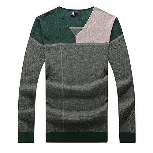 Insun Herren Sweatshirt Feinstrick Pullover mit V-Ausschnitt Herbst Winter Sweater Grün EU 3XL (Herren-pullover Alpaka-wolle Mit V-ausschnitt)