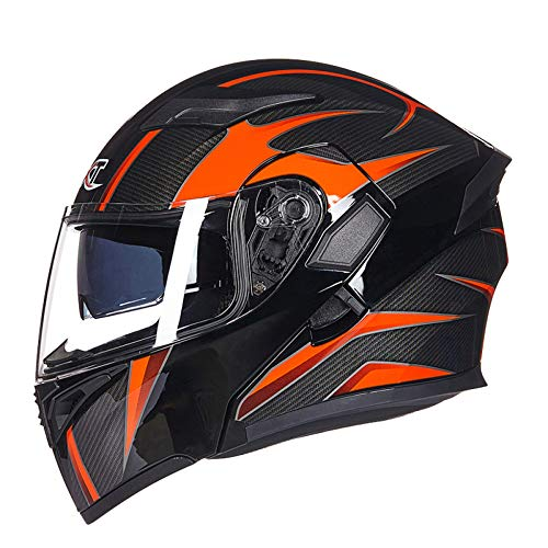 YNWJ Motorradhelm Schwarz Orange M-XXL Motorradhelm Mit Sonnenblende Bluetooth 55-64cm Klapphelme Für Motorrad Integralhelm Helm Motorradhelm Herren,Black/Orange B-M