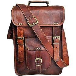 """15""""hombres de piel auténtica bolso bandolera bolso de bolso bandolera de funda para portátil de Vertical envejecido Crossbody Bolsa"""