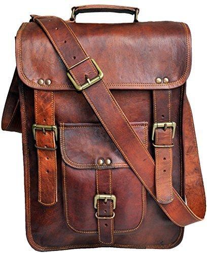 """15"""" Men's Genuine Leather messenger bag laptop case Vertical Satchel shoulder bag distressed crossbody bag"""