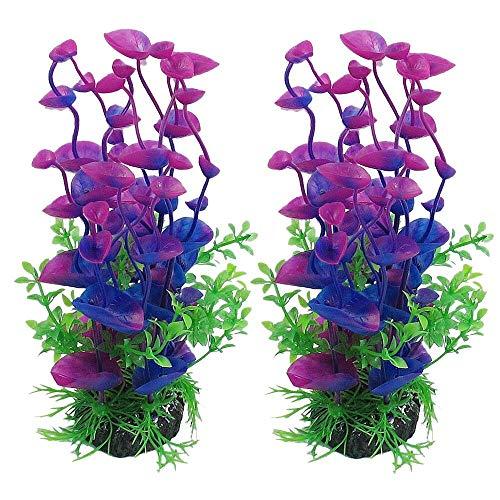 Berrose 2 Stück Simulation Wassergras Aquarium Dekor Dekoration Ornament Künstliche Kunststoff Pflanze Grün Großen Pflanzen Aquariumpflanze Fisch Tank