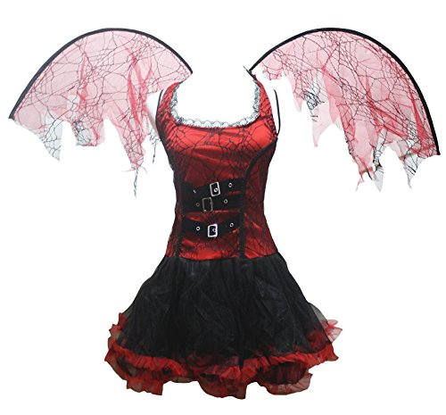 Devil Womens Red Kostüm (petitebelle Halloween-Kostüm Pretty Red Devil Party Dress Up für Frauen Gr. One Size,)