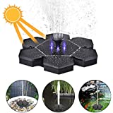LDIWA Fuente Solar Bomba, con luz LED Bomba Solar Flotante de Silicio Monocristalino de 2.4W, para Pequeño Estanque Fish Tank Decoración del Jardín