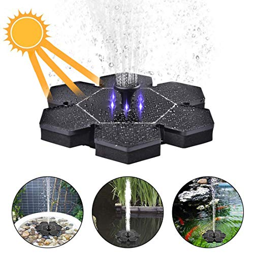 ZUJI Solar-Springbrunnen Pumpe Brunnen Garten Wasserpumpe mit LED-Tauchpumpe und Solar Panel Kit für Gartenteich (Solar Oberfläche Licht)