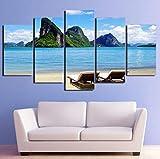 Foagge Pintura Moderna sobre Lienzo 5 Paneles, Cielo Azul, Costa del mar Tropical, Paisaje, Carteles, decoración, Sala, Arte de Pared, Cuadros, HD