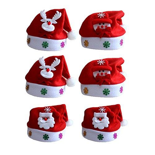 hsene Weihnachtsmützen Nikolausmützen Weihnachtsmann Hüte Mützen Weihnachten Cap Leuchtendes Muster Xmas Abendessen Partei Kostüm Farbe 1 (Weihnachten Hüte Für Erwachsene)