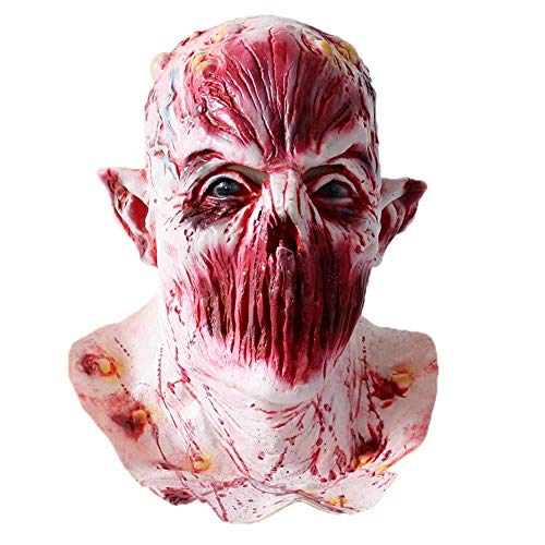 atuen Halloween Neuheit Cosplay Scary Mask Horror Latex Kopf Maske Kostüm Für Erwachsene Party Dekoration Requisiten Creepy Für (F), E ()