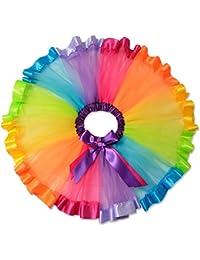 Perfashion Girls' Rainbow Skirt Ruffle Tiered Tulle Tutu Skirt Bowknot Chiffon Ballet Dance Pull-On Skirt