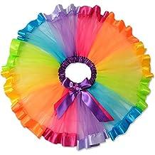Perfashion Niñas falda tutú de tul en niveles con volantes falda arcoiris con lazo