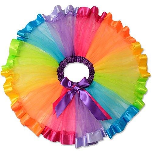 Perfashion Mädchen Kinder Regenbogen Tüllrock Tütü Tanzkleid Ballettkleid Ballettröckchen Rock Clubwear (Tutu Kostüme Baby Regenbogen)