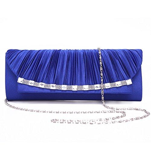Curva Damara gigante foreverde piega Satin grazia in modo elegante la sera per catene borsa a tracolla, Blu (blu), Large Argento (argento)