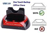 Ronsen 876U Externe Festplatte Docking Station - USB 3.0 Dual Bay Festplattenleser für 2,5/3,5 Zoll SATA I/II HDD SSD mit One Touch Backup und Offline Clone Funktion, Unterstützung 2X 8TB, Tool-Free