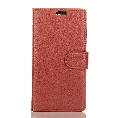 Solid Color Premium PU Leder Geldbörse Tasche mit Card Slots & Kickstand & Soft TPU Rückseite für iPhone X ( Color : White ) Brown