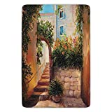 VTXWL Bathroom Bath Rug Kitchen Floor Mat Carpet,Rustic,Stone Street Gate in an Old Town with Blooming Flowers Oil Paint