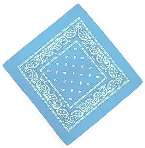 Unbekannt Bandana Kopftuch Halstuch Nickituch Biker Tuch Motorad Tuch verschied. Farben Paisley Muster (Hell Blau)