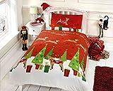 Navidad renos para niños, presenta colcha funda de edredón y 2funda de almohada juego de ropa de cama, multicolor, multicolor, suelto