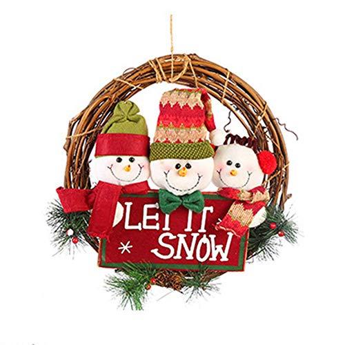 """SuRose Weihnachtskranz, Haustür-Weihnachtsrebe, Anhänger, Künstliche Außendekoration, Alter Mann-Schneemann, Hirsch, Hängende Girlande, 13"""",Red"""