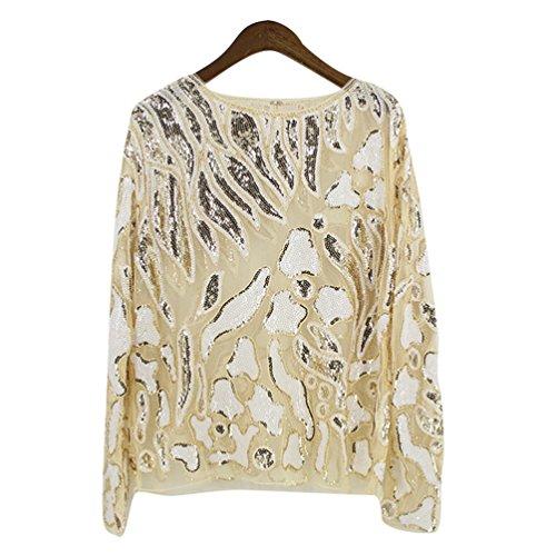 NiSeng Donna Maglietta Pizzo Manica Lunga Retro Prospettiva Camicetta T-shirt Tops Oro