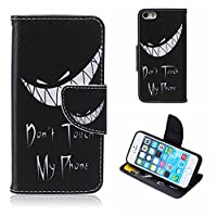 iPhone 5C Case , BoxTiiŽ Flip Wallet Slim Case + Free Tempered Glass Screen Protector, Premium PU Leather Case Cover with Magnetic Clip Card Slots and Stand, Elegant Anti-Scratch Shock-Absorption Folding Folio Flip Wallet Case for Apple iPhone 5C (#5 Bla