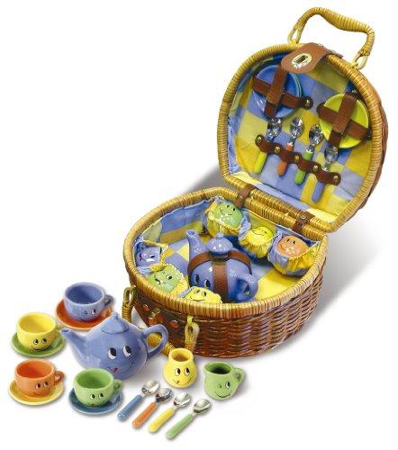 Fuchs 4920 - Mini Porzellan Kaffeeservice für 4 Personen in Picknickkoffer