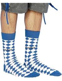 1 Paar Trachtensocken für Haferlschuhe Bavaria blau weiss AT-6187 Blau