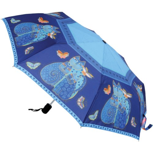 laurel-burch-laurel-burch-indigo-katzen-compact-regenschirm-blau-grosse-one-size