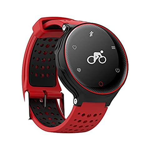 Dynimac moniteur de fréquence cardiaque Smart Bracelet, Yustar 2,4 cm écran OLED étanche IP68 pression artérielle Blood Oxygen Monitor Bracelet Santé Sports Fitness tracker d'activité – Multi-Sport Mode – Data-push – Langage de l'Identification automatique M Red