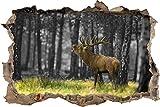 Pixxprint 3D_WD_5202_92x62 röhrender Hirsch im Wald Wanddurchbruch 3D Wandtattoo, Vinyl, Schwarz/weiß, 92 x 62 x 0,02 cm