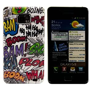 kwmobile Hardcase Hülle für Samsung Galaxy S2 i9100 / S2 PLUS i9105 mit Comic Design - Hartschale Backcover Case Schutzhülle Cover in Weiß Schwarz etc.