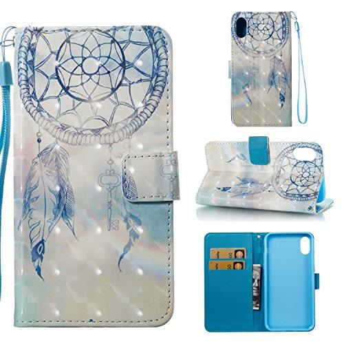 Ooboom® Custodia per iPhone X Cover 3D Magnetico Libro Flip in Pelle PU Cuoio Wallet Case con Funzione di Appoggio e Supporto Cinturino da Polso - Smile Acchiappasogni Blu