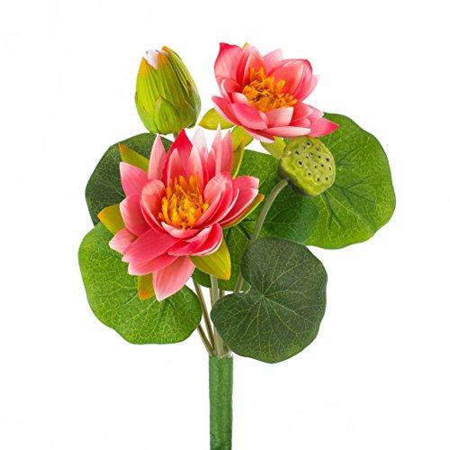 artplants - Künstliche Seerosenpflanze SABIHA, 2 pinke Blüten, Knospe, Fruchtstand, grüne Blätter, 40 cm - Kunst Wasserpflanze / Lotuspflanze