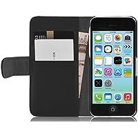 iPhone 5C Lederhülle | JAMMYLIZARD Ledertasche [ Wallet Tasche Series ] Leder Book Case Hülle Flip Cover Schutzhülle mit Kartenfach, Schwarz