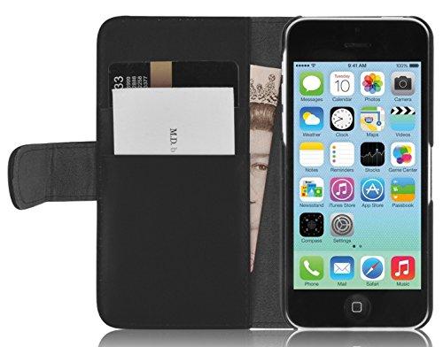 JAMMYLIZARD Lederhülle für iPhone 5C | Handyhülle [ Swiss Book Case Wallet ] Ledertasche Flip Cover Hülle Leder Schutzhülle, Schwarz (Case 5c Wallet)