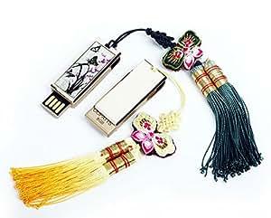Chiavetta in Madreperla Penna Samsung 8GB Pendrive Chiave USB 2.0 Unità Flash Portatile con Cordicella o Cordino in Macramé Coreano Motivo Orchidea Viola Fiore Farfalla Regalo Aziendale