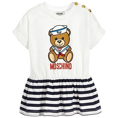 b06d84be3cdcc Moschino t-shirt bianca con orsertto e righe blu 6 a