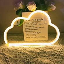 QiaoFei Neon Light,LED Cloud Sign Shaped Decor Light,Wall Decor for Chistmas,Birthday Party,Kids Room, Living Room, Wedding Party Decor (Warm White)