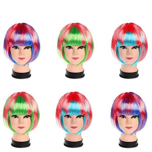 Set 6 Coloridas Pelucas Cortas/Largas para Mujeres por Kurtzy - Fibra Sintética Lisa - Apto para Cosplay...