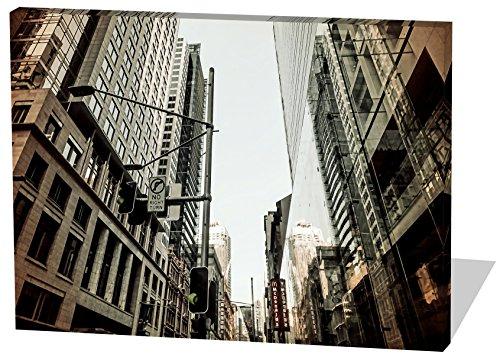 City, Gemälde Effekt, schönes und hochwertiges Leinwandbild zum Aufhängen in XXL - 60cm x 40cm, echter Holzrahmen, effektiver Pigmentdruck, modernes Design für Ihr Büro oder (Gott Kostüm Wein)