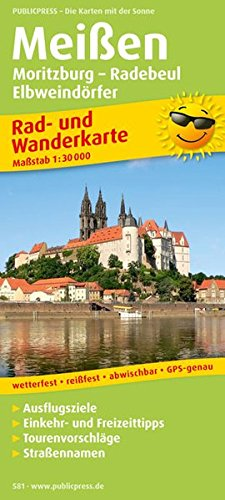 Preisvergleich Produktbild Meißen, Moritzburg - Radebeul - Elbweindörfer: Rad- und Wanderkarte mit Ausflugszielen, Einkehr- & Freizeittipps, wetterfest, reissfest, abwischbar, GPS-genau. 1:30000