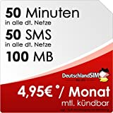 DeutschlandSIM SMART 50 [SIM und Micro-SIM] monatlich kündbar (100MB Daten-Flat, 50 Frei-Minuten, 50 Frei-SMS, 4,95 Euro/Monat, 15ct Folgeminutenpreis) Vodafone-Netz preiswert