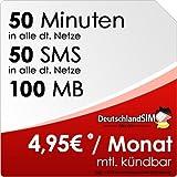 DeutschlandSIM SMART 50 [SIM und Micro-SIM] monatlich kündbar (100MB Daten-Flat, 50 Frei-Minuten, 50 Frei-SMS, 4,95 Euro/Monat, 15ct Folgeminutenpreis) Vodafone-Netz