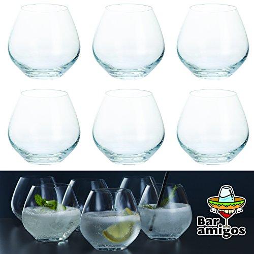 Lot de 6 verres Bar Amigos® - Verres à Copa de gin et tonic sans pied | Grand verre à ballon de cocktail G et T | Cristal sans plomb | Passe au lave-vaisselle | 440 ml