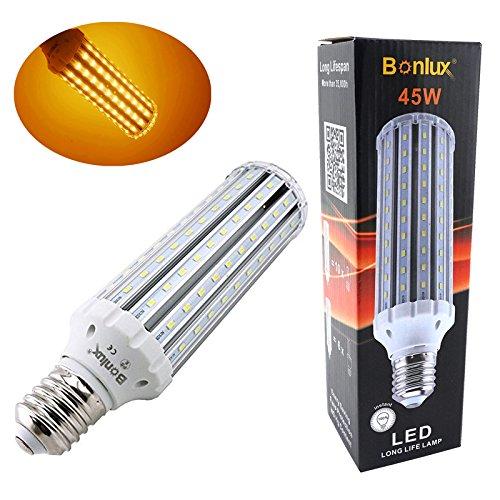 Bonlux E40 LED Mais Lampe 45W 220V Warmweiß 3000K Super Hell bei 4500 Lumen wie 400W Halogen / 150W CFL E40 LED Birne Retrofit für für Deckenfluter, Hotel, Saal, Straßenlaterne, Flutlicht, Garten Test