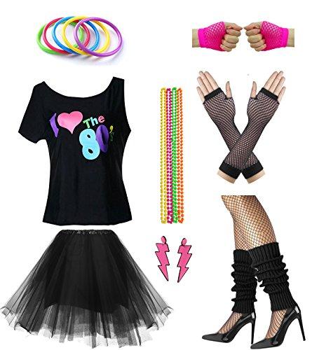 Frauen Ich Liebe die 80er Disco 80er Kostüm Outfit Zubehör Set