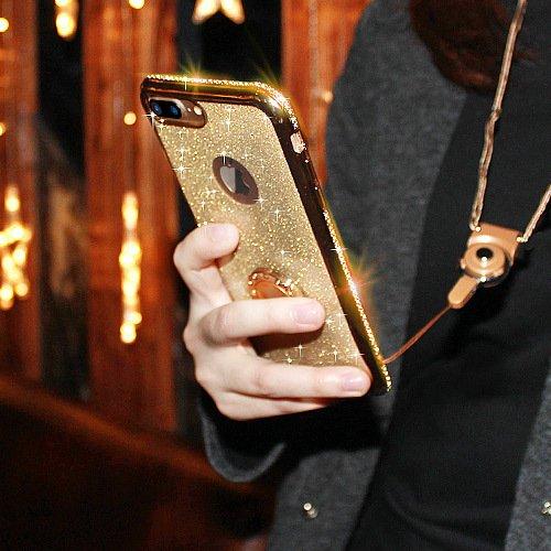 Cover iPhone 6 Plus/6S Plus Glitter Silicone per Ragazze,Kickstand Bling Diamante Brillante Cristallo Lucciante Luminosa Custodia Gel Case per iPhone 6 Plus/6S Plus, 5.5 inch (Trasparente) iPhone 7 Plus Oro