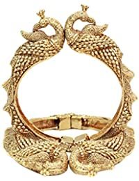 Sanara Exclusive Stunning Gold Plated Peacock Style Polki Bangle Set Women & Girl Bangles Jewelry