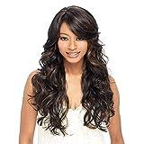 Rindasr Parrucca nera Onda lunga sezione femminile Liu Hai micro ricci capelli 23 pollici 59 centimetri testa resistente al calore parrucca capelli ricci lunghi con cappuccio parrucca