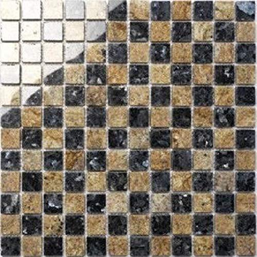 Granit Mosaik Blue Pearl/Kashmir gold 2,3x2,3x0,8cm, 1 Tafel MOSAKO Fliesen -