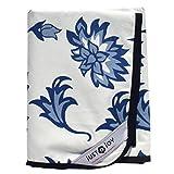 Just a Joy Picknickdecke - extra groß - reine Baumwolle mit wasserfester Unterseite - Blaue Blumen